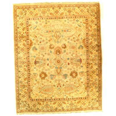 Fine Agra Hand-Knotted Wool Yellow Area Rug