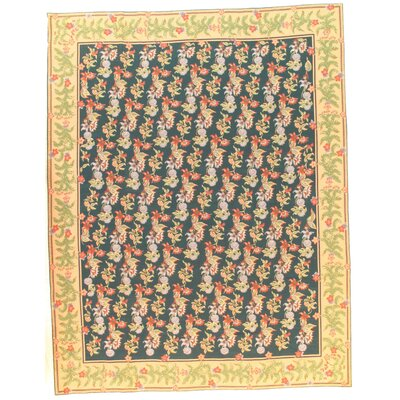 Fench Aubusson Design Flat Hand-Woven Wool Green Area Rug