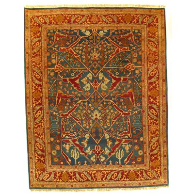 Agra Hand-Knotted Wool Green/Rust Area Rug