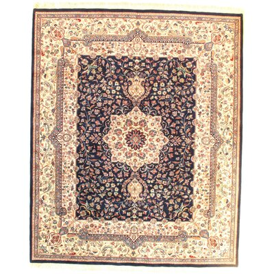 Fine Tabriz Design Lambs Hand-Knotted Wool Navy/Beige Area Rug