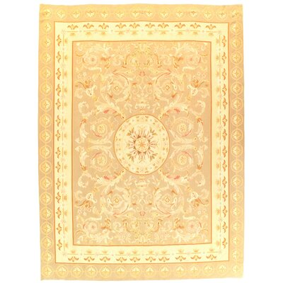 French Abusson Design Flat Weave Hand-Knotted Wool Taupe Area Rug