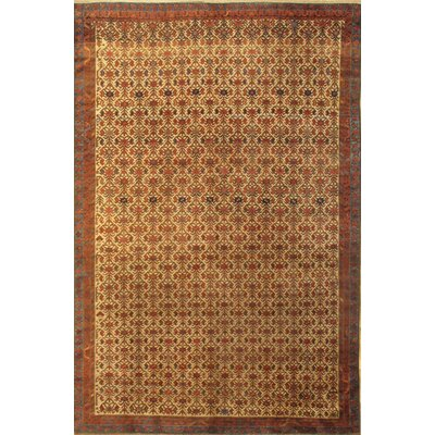Antique Persian Seneh Hand-Knotted Wool Ivory Area Rug