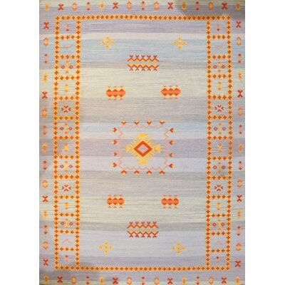 Reversible Kilim Moroccan Hand-Knotted Wool Blue/Yellow/Red Area Rug Rug Size: Rectangle 10 � 14