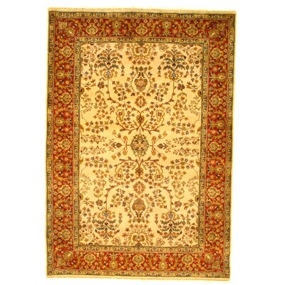Sarouk Design Hand-Knotted Wool Ivory/Orange Area Rug