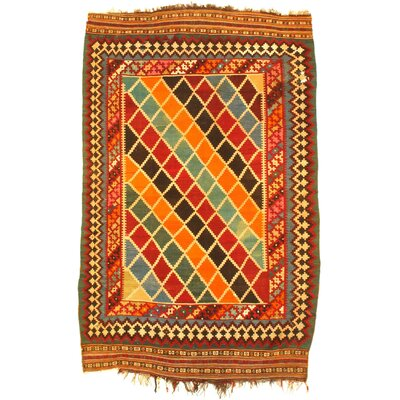 Semi-Antique Persian Shiraz Kilim Hand-Woven Wool Orange Area Rug