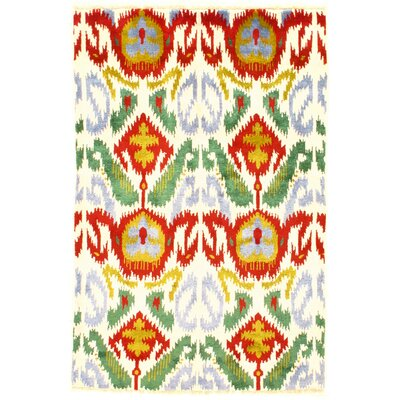 Modern Ikat Rayon from Bamboo Silk Hand-Knotted Wool Ivory/Red Area Rug