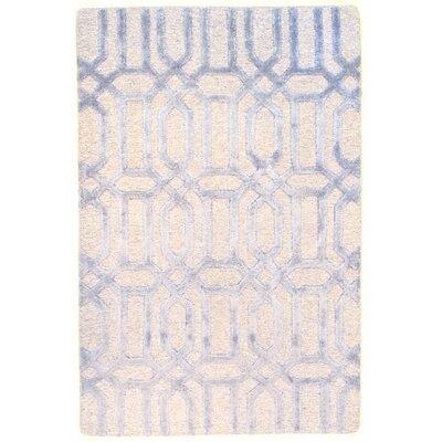Loop & Pile Modern Soumak Weave Hand-Knotted Wool Blue/Beige Area Rug