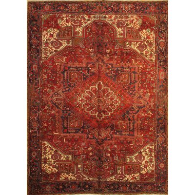 Original Persian Heriz Hand-Knotted Wool Red Rust Area Rug