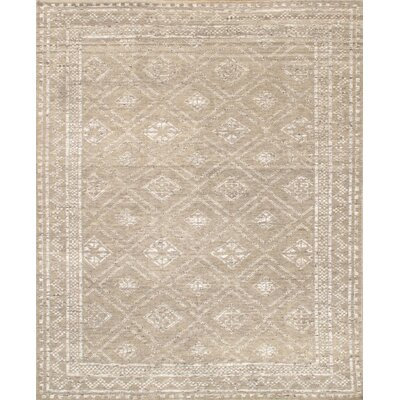 Modern Hand-Knotted Wool Beige Area Rug