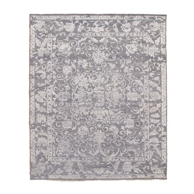 Soumak and Pile Hand-Knotted Silk Gray Area Rug