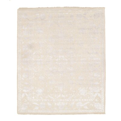 Pile and Sumak Weave Hand-Woven Wool Beige Area Rug