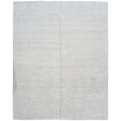 Modern Hand-Knotted Silk/Wool Gray Area Rug