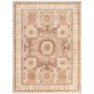 Fine Tabriz Hand-Knotted Wool Light Brown Area Rug