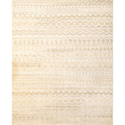 Modern Hand-Knotted Wool/Silk Beige Area Rug