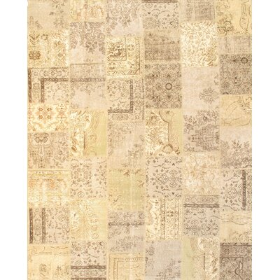 Turkish Patchwork Hand-Knotted Beige Area Rug