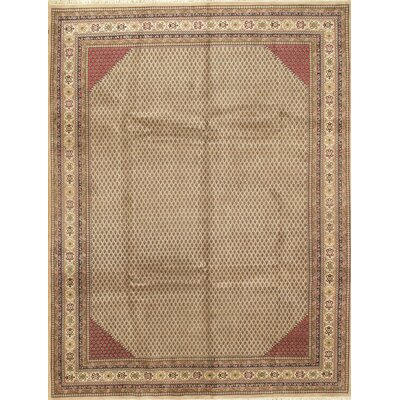 Mir Design Soft Hand-Knotted Wool/Silk Beige Area Rug