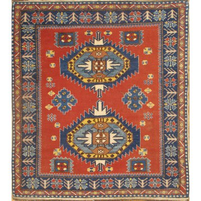 Turkish Kazak Hand-Knotted Wool Red Area Rug