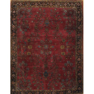 Persian Sarouk Farahan Hand-Knotted Wool Antique Red Area Rug