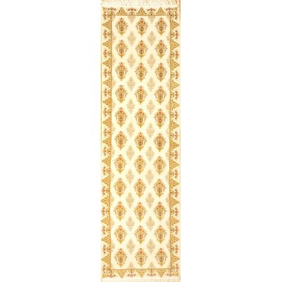 Persian Isfahan Hand-Knotted Wool Ivory Area Rug