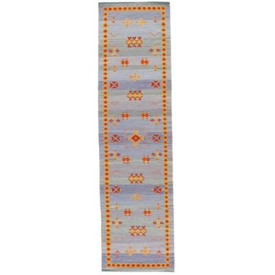 Kilim Reversible Hand-Woven Wool Blue Area Rug Rug Size: Runner 25 x 8