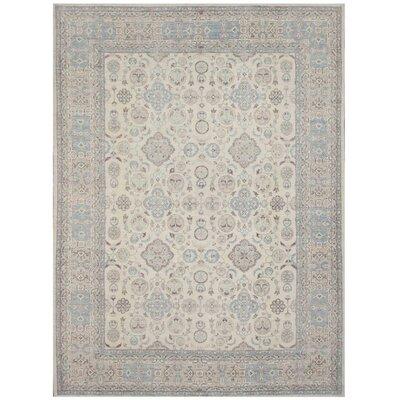 Pishavar Tabriz Hand-Knotted Wool Beige Area Rug