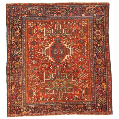 Persian Karajeh Antique Serapi Hand-Knotted Wool Red Area Rug