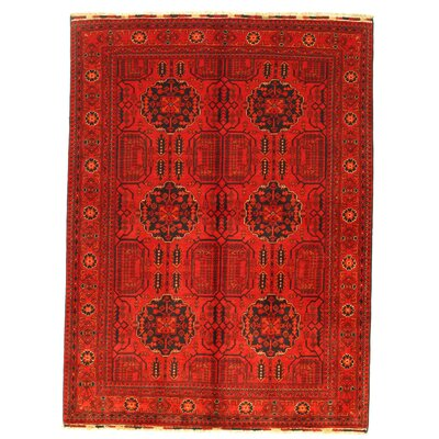 Afghan Bashir Hand-Knotted Wool Red Area Rug