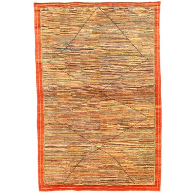 Original Persian Gabbeh Loribaft Hand-Knotted Wool Orange/Yellow Area Rug