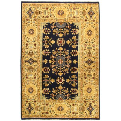 Tabriz Design Hand-Knotted Silk/Wool Navy Area Rug