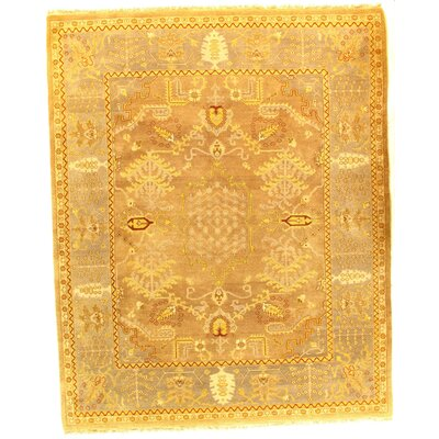 Fine Agra Hand-Knotted Wool/Silk Brown Area Rug