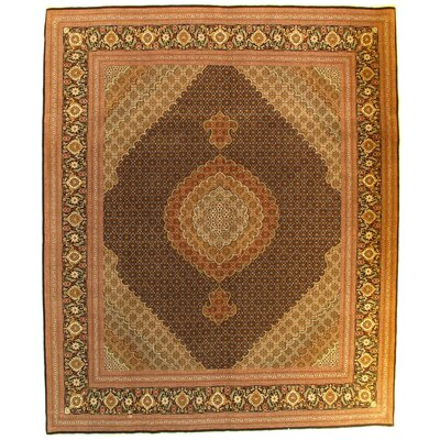 Persian Tabriz Hand-Knotted Silk Brown Area Rug