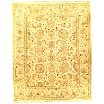 Sultanabad Design Hand-Knotted Silk/Wool Ivory Area Rug