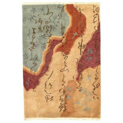 Modern Tibetan Hand-Knotted Silk/Wool Beige Area Rug