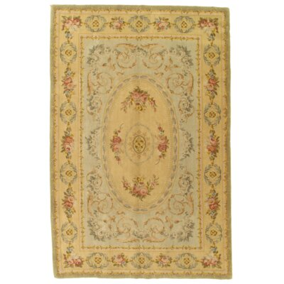 Savonnerie Abusun Hand-Knotted Wool Beige Area Rug