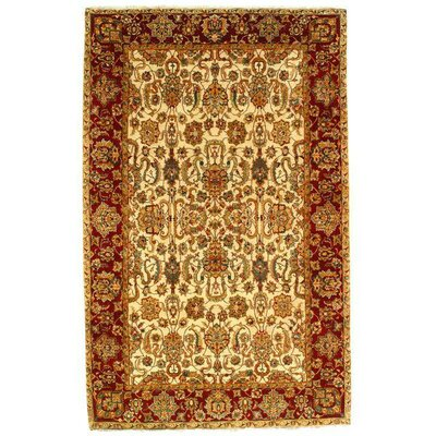 Agra New Zealandian Vegetable Dyed Hand-Knotted Wool Ivory Area Rug
