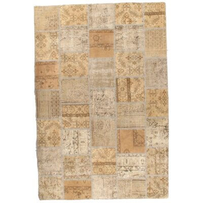 Turkish Patchwork Hand-Knotted Wool Beige Area Rug