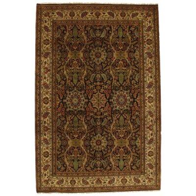 Fine Tabriz Design Hand-Knotted Wool/Silk Black Area Rug