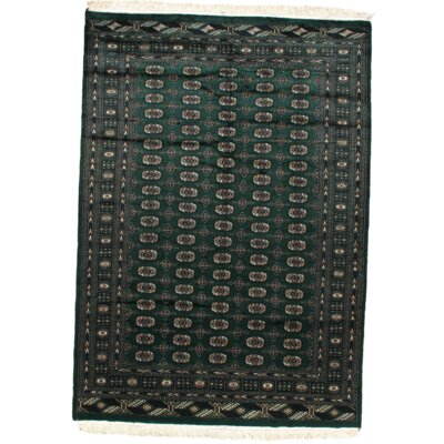 Fine Pak Bokhara Hand-Knotted Wool Green Area Rug