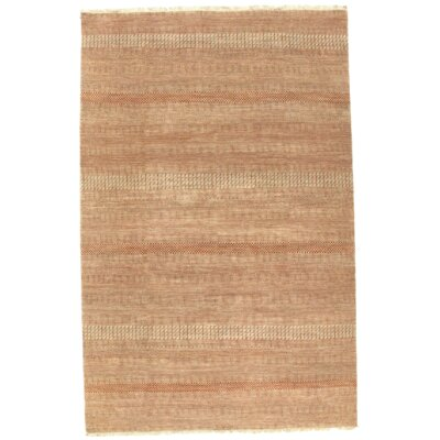 Indo Modern Hand-Knotted Silk Ivory Area Rug