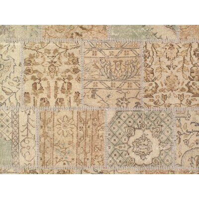 Modern Turkish Path Work Hand-Knotted Wool Beige Area Rug