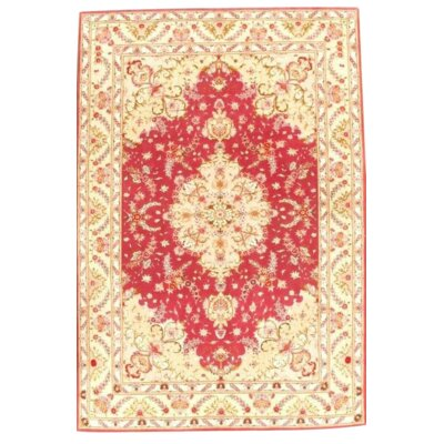 Fine Persian Tabriz Hand-Knotted Silk/Wool Red Area Rug