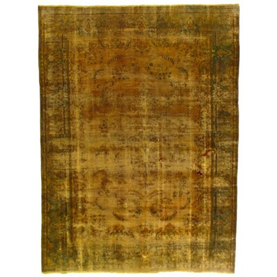 Turkish Tabriz Design Hand-Knotted Wool Gold Area Rug