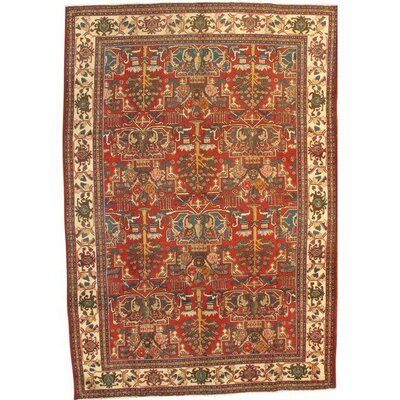 Antique Persian Tabriz Hand-Knotted Wool Red Area Rug