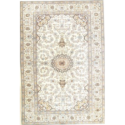 Original Persian Kashan Hand-Knotted Wool Ivory Area Rug