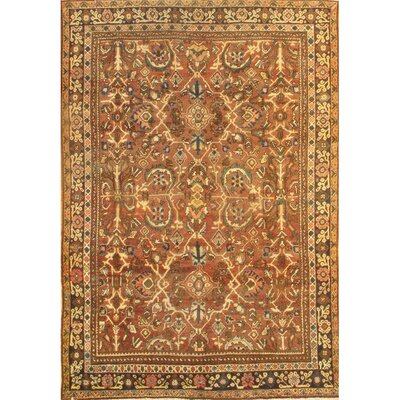 Antique Persian Mahal Hand-Knotted Wool Rust Area Rug