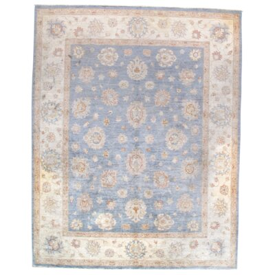 Farahan Hand-Knotted Wool Blue/Brown Area Rug