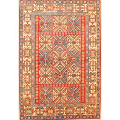 Kazak Hand-Knotted Wool Rust/Blue Area Rug