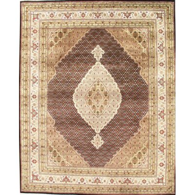 Tabriz Fish Design Hand-Knotted Wool Brown Area Rug
