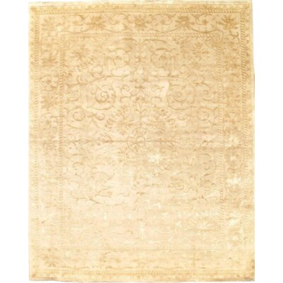 Fine Tabriz Design Hand-Knotted Wool Beige Area Rug