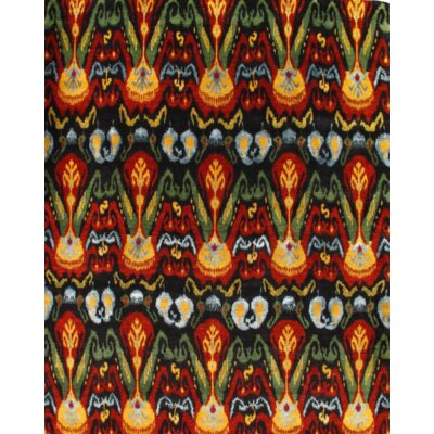 Ikat Modern Hand-Knotted Wool Black/Red Area Rug